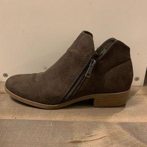 Brown Side Zip Short Booties